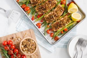 Cranberry-Barley Crusted Salmon and Veggies Sheet Pan Dinner